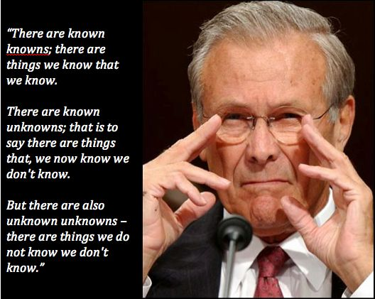 Donald Rumsfeld, not making much sense but it's a great quote and appeals to the X-File in me!