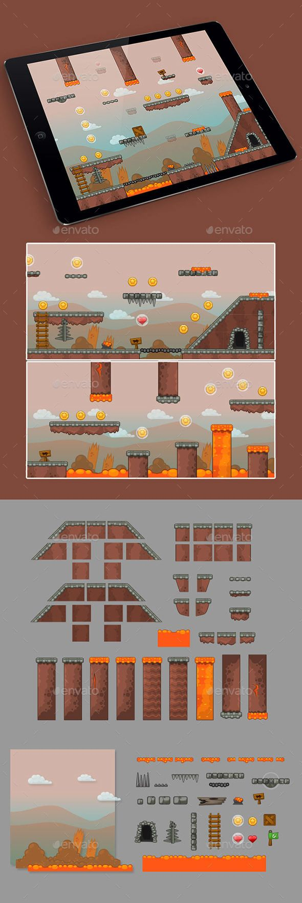 2D Stone Game Platformer Tilesets — Vector EPS #tileable #game design • Available here → https://graphicriver.net/item/2d-stone-game-platformer-tilesets/15614665?ref=pxcr