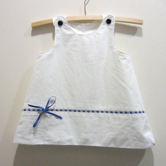 Upcycled baby dress  white with blue ribbon by BananaOrangeApple,: Summer Dresses, Blue Ribbons, Eco Friends, Upcycled Baby, Baby Dresses, Baby Clothing, Friends Spring, Clothing Idea, Upcycled Idea