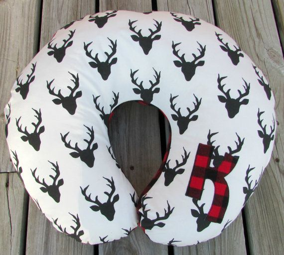 Personalized Boppy Cover Buffalo Plaid Nursing by LovePitterPatter