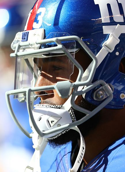 Odell Beckham of the New York Giants looks on in the fourth Quarter against the Washington Redskins during their game at MetLife Stadium on September...