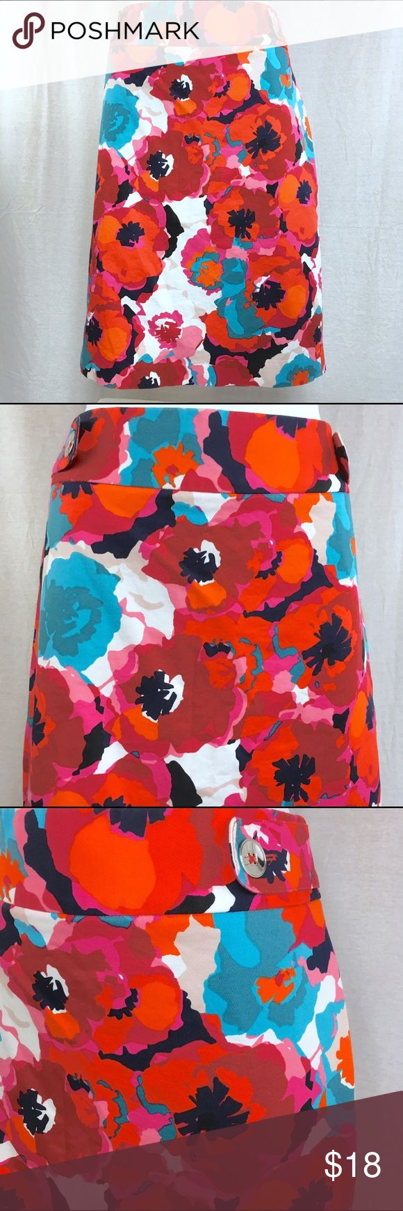 rafaella Red Floral Print Skirt - Size 14 This skirt is in great condition.  It has been gently preloved.  Laying flat, the waist measures 18 inches.  From the top of the waistband toward the knee, it measures 22 1/2 inches. Rafaella Skirts Pencil