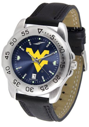 West Virginia Mountaineers Sport AnoChrome Men's Watch with Leather Band