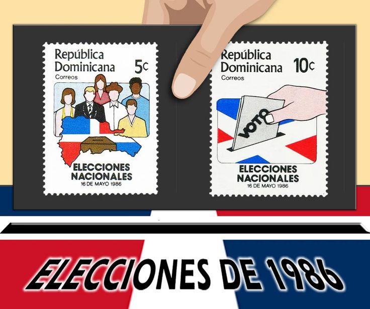 VOTO POR EL SELLO. Elecciones Nacionales, 16 de mayo 1986. Autorizados por el Decreto No. 185-86 del 11-3-1986, del Presidente Salvador Jorge Blanco. Emitidos el 29 de abril, e impresos por la Litografía Ferrúa & Hermanos. Las viñetas fueron realizadas por Nelson Dávila. Estas elecciones se celebraron el 16 de mayo, declarándose ganador al Dr. Joaquín Balaguer del Partido Reformista, quien asumió el mandato presidencial el 16 de agosto, manteniéndose en el poder hasta el 1996.