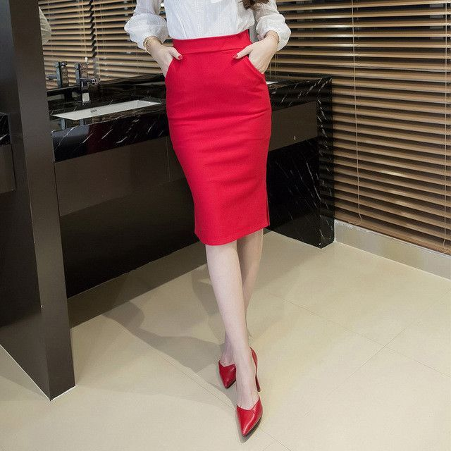 5XL Plus Size Midi Skirt Women 2017 Fashion OL Office Pencil Skirts Women's Jupe New Arrival Slit High Waist Skirt Black Red skirts womens, skirts womens clothing for sale	, women's skirts and dresses, women's skirts australia, women's skirts below knee. #ad