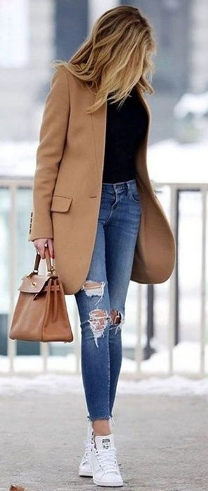 Short Sleeved Black Blouse and Ripped Medium Dark Blue Jeans Topped with a Tan Blazer with a Tan Handbag and White Sneakers. #ShopStyle #shopthelook #CasualLook #affiliate