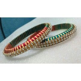 Bangle pair made of silk thread in dual colours