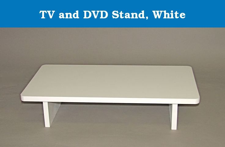 """TV and DVD Stand, White. Position your TV a little higher and place your DVD player (or other component) in the space directly under the TV so you can easily aim your remote control at both units. The top measures 25""""W x 14""""D with the component compartment opening measuring 4-1/2""""H x 17-1/2""""W. Overall height is 5-5/8"""" high. This well-made stand is handcrafted in the USA from select northern hardwoods and an MDF top and finished with a high quality white lacquer. Ships fully preassembled..."""