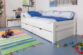 """Kinderbett / Jugendbett """"Easy Sleep"""" K1/2h inkl. 2 Schubladen und 2 Abdeckblenden, 90 x 200 cm Buche Vollholz massiv weiß lackiert"""