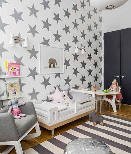 childrens room wallpaper over sized star metallic wallpaper by sissy and marley via atticmag - Metallic Kids Room Interior