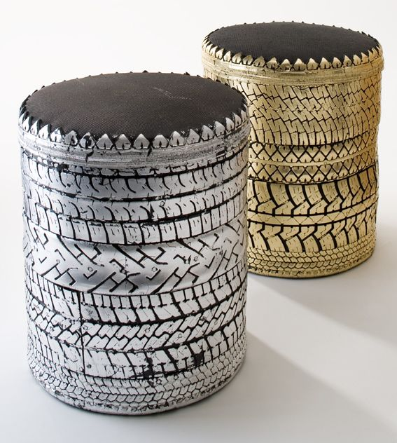 Poufs pneu Khmissa We take a poor material, which is locally burnt in ceramic ovens releasing harmful toxins into the air, and turn it into functional products. We want to elevate out products beyond the scope of classical arts and crafts.