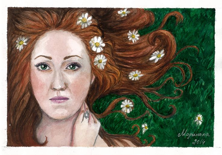 Self-portrait with camomiles Watercolor, watercolor pencils, A4.