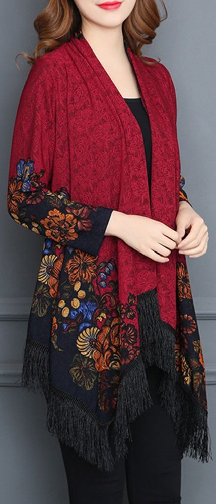 55% OFF! US$31.49 Vintage Printed Tassel Cardigan Shawl for Women SHOP NOW!
