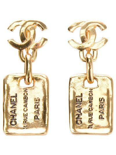 Gold-plated earrings from Chanel featuring the logo design and a hanging gold-plated square with 'Chanel' embossed design feature.Please note that vintage items are not new but often between 20 and 50 years old, and therefore will always have minor imperfections, even when the items have been used and worn with love and care.