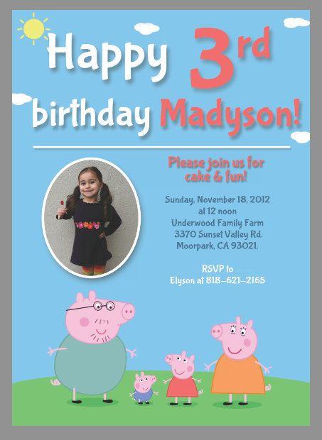 Peppa Pig Birthday Invitation For Boy And Girl Digital By PoetiKa 700