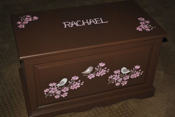 HOPE CHEST   Cherry Blossoms hand painted, Custom Design To Match by onmyown14 on Etsy