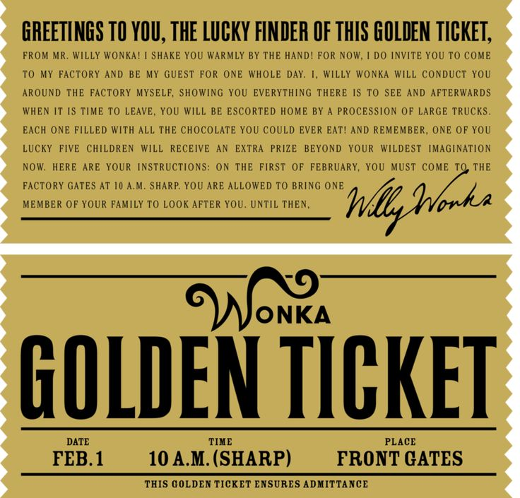 Willy Wonka Chocolate Factory Golden Ticket | Willy Wonka's Golden Ticket by ~danjuwise1 on deviantART