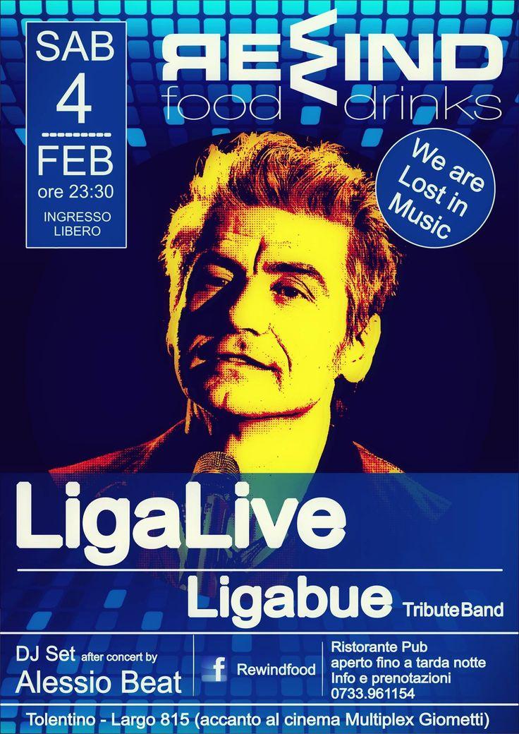Sabato 4 febbraio 2017 al Rewind #Tolentino serata live con LigaLive con il tributo a #Ligabue ed a seguire dj set by Alessio Beat. Non mancate! Ingresso libero. Per info e prenotazioni cena 0733/961154
