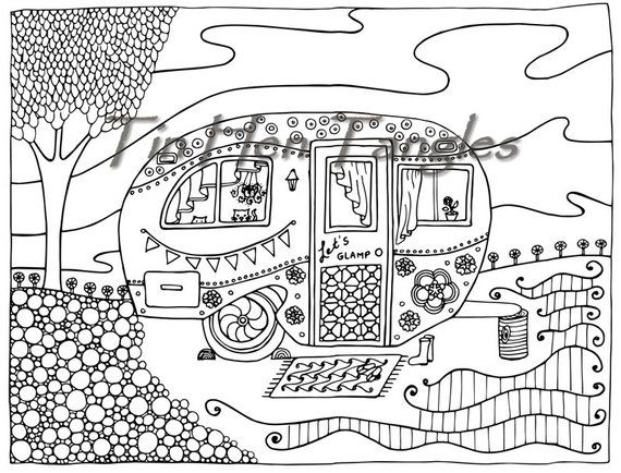Glamper Camper Coloring Page Summer Dream Camping Glamping