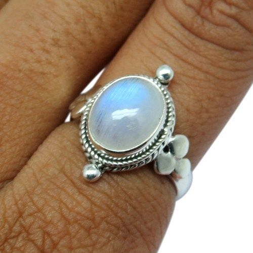 Blue Fire Gemstone Ring Handmade Rainbow Moonstone Silver RingARCB1396-3 #Handmade