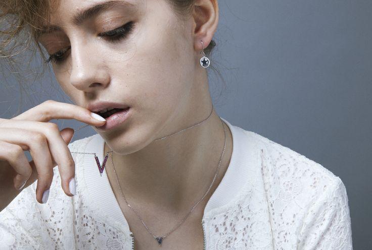#Magic scroll  Ruby   #Pentagram 18KWG drop earrings with blue sapphire
