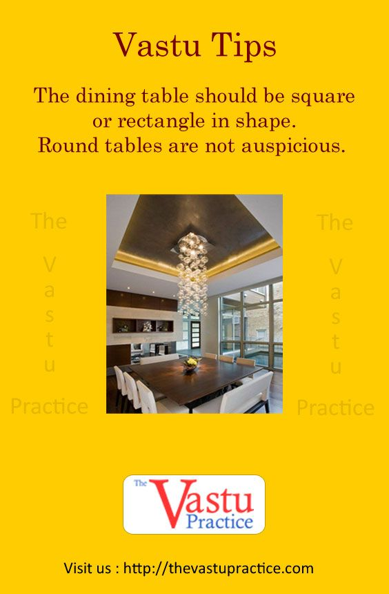 The Dining Table Should Be Square Or Rectangle In Shape Round Tables Are Not Auspicious
