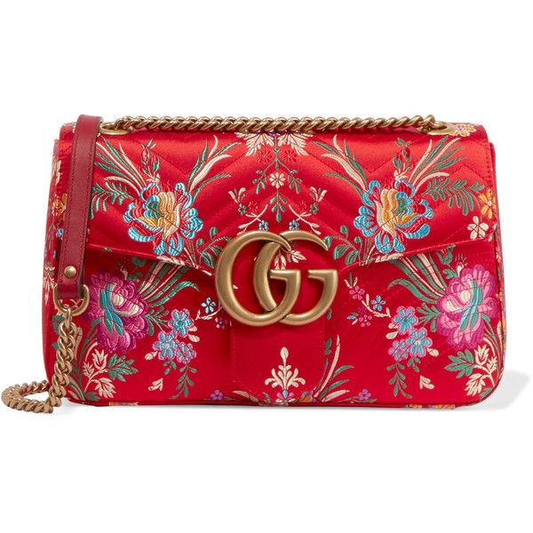 Gucci GG Marmont medium quilted floral-jacquard shoulder bag ($1,510) ❤ liked on Polyvore featuring bags, handbags, shoulder bags, gucci, red, shoulder bag purse, buckle purses, chain shoulder bag, shoulder handbags and gucci handbags