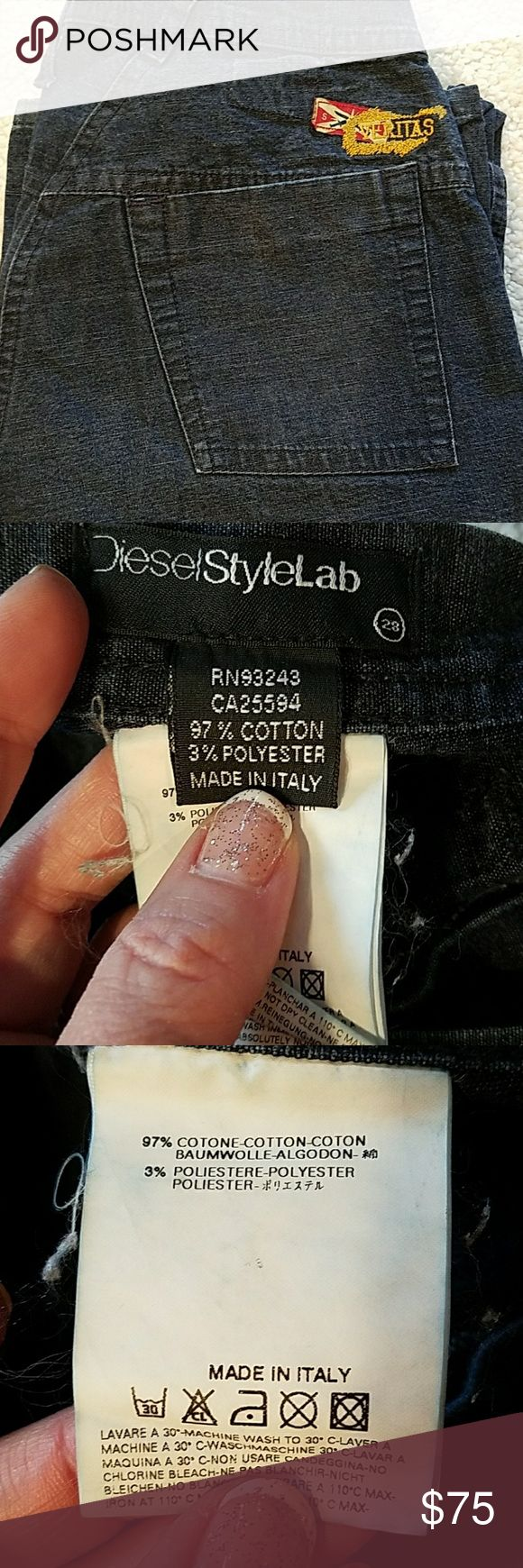 Diesel style lab jailhouse jeans size 28 Waist flat 14 rise 8.5 inseam 32. Freyed hems. These are a discontinued high end line.Price reflects still EUC Diesel Jeans Flare & Wide Leg