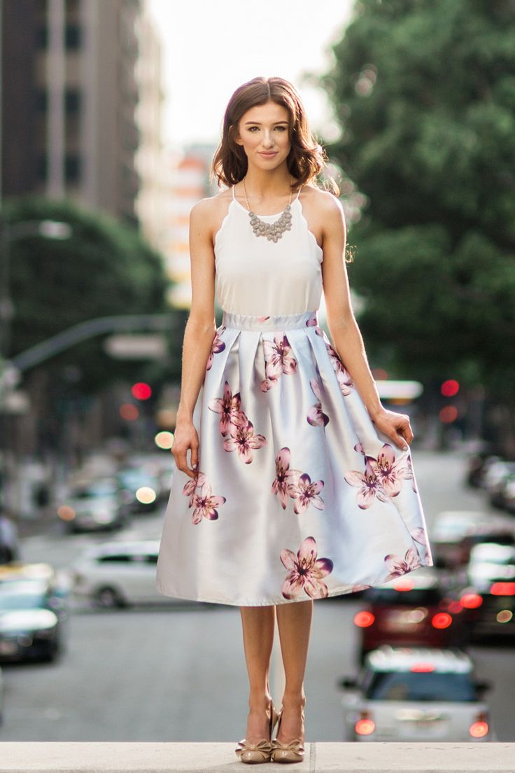 Grey Floral Midi Skirt, Printed Midi Skirts for Women, Pretty Midi Skirts, Spring Wedding Outfits