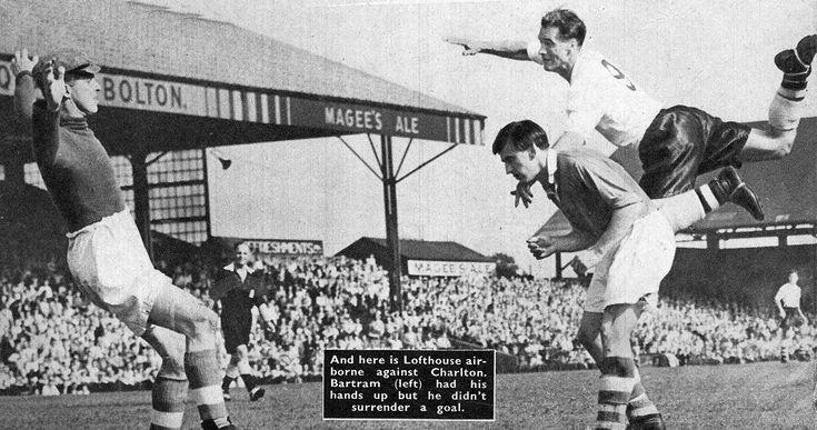 27th August 1955. Bolton Wanderers centre forward Nat Lofthouse heading over the bar with Charlton Athletic goalkeeper Sam Bartram beaten, at Burnden Park.