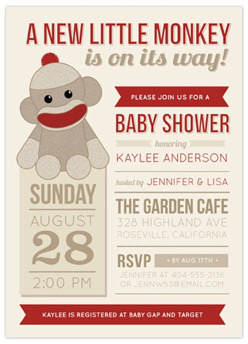 Sock Monkey Baby Shower invitation from Indigo Prints