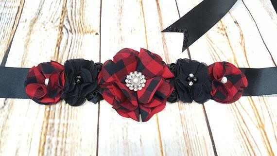 Maternity Sash Red And Black Buffalo Plaid Wedding