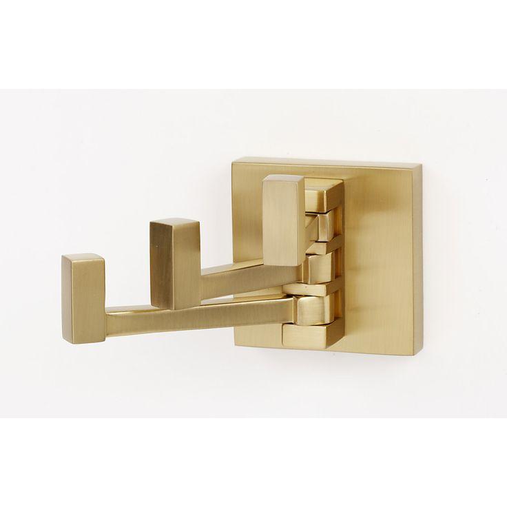 Alno A8485-SB Contemporary II Satin Brass  Robe Hooks Bathroom Accessories |eFaucets.com