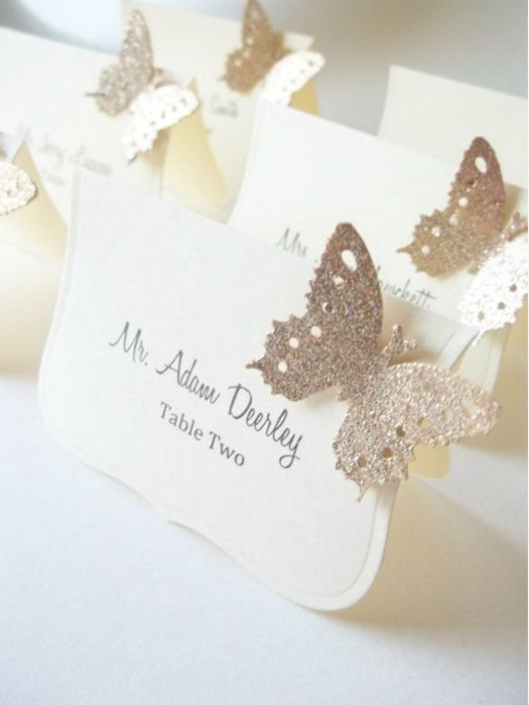 Glittered Butterfly Escort Cards on Preston Bailey's Bride Ideas
