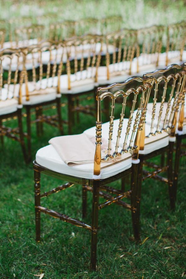 Lucite ceremony chairs: http://www.stylemepretty.com/2016/06/20/rich-kids-of-beverly-hills-morgan-stewart-brendan-fitzpatrick-wedding/   Photography: Closer to Love Photography - http://closertolovephotography.com/