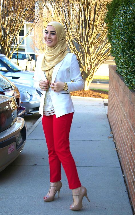Red, White & Gold Hijab