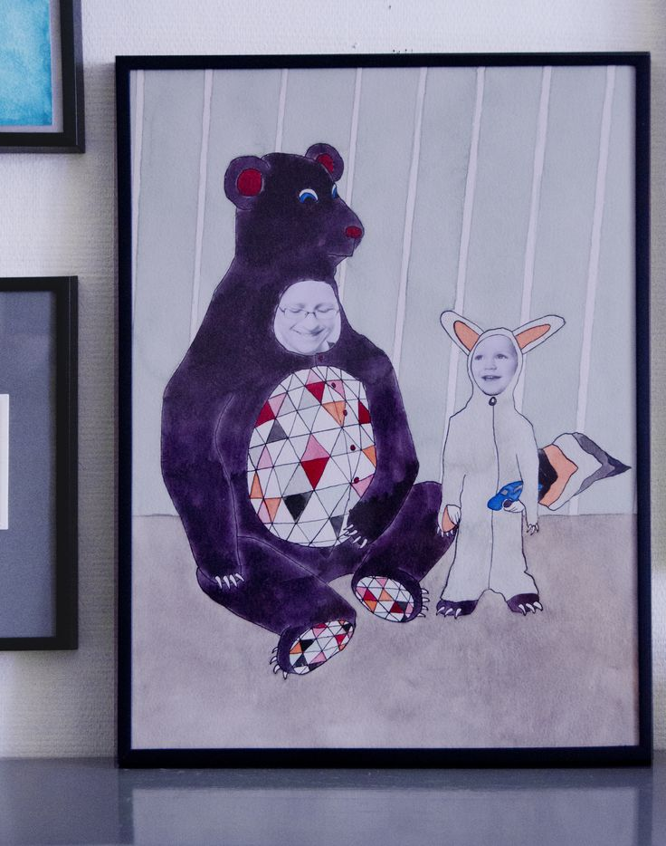 Family portrait as bear and fox. Watercolor and ink illustration by katrine Mosegaard