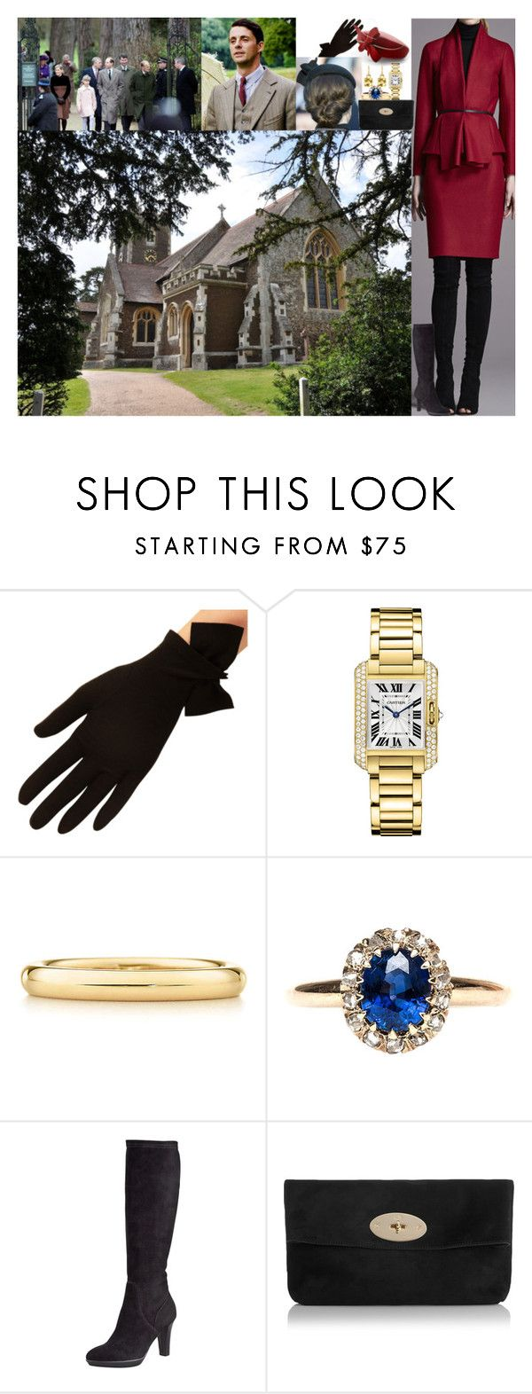 """""""Attending the Christmas Day service at St Mary Magdalene Church"""" by lady-maud ❤ liked on Polyvore featuring Cartier, Elsa Peretti, Aquatalia by Marvin K., Mulberry and Kiki mcdonough"""