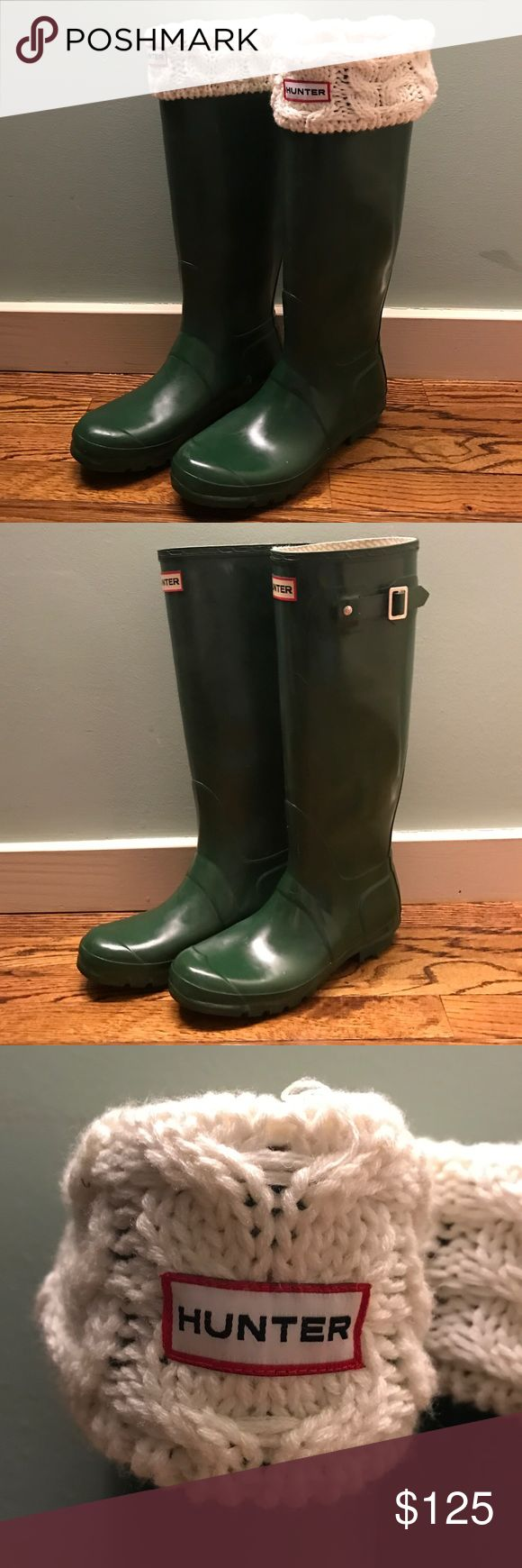 Original Tall Hunter Boots The Original Tall boot is handcrafted from 28 parts and built on the original last for exceptional fit and comfort. Handcrafted, waterproof, textile lining, natural rubber, flawless condition, shows almost NO SIGNS OF WEAR!  (Will combine with the boot socks in my other listing for a discount!) Hunter Boots Shoes Winter & Rain Boots