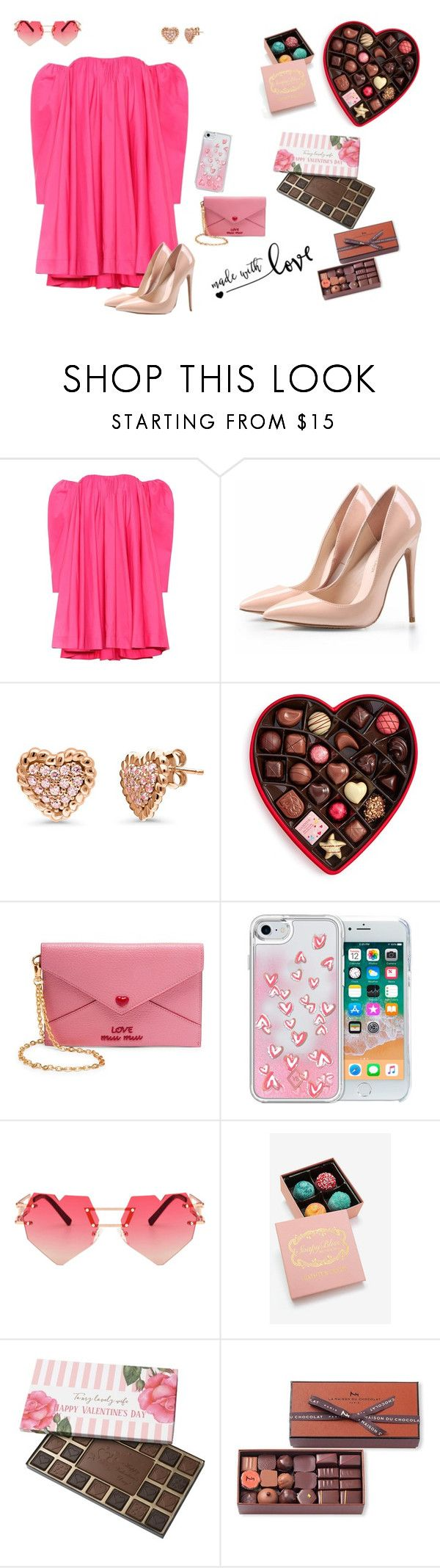 """Valentine's Day outfit #3: the girl who gets everything"" by glitterqueenz ❤ liked on Polyvore featuring Calvin Klein 205W39NYC, BERRICLE, Godiva, Miu Miu, Vera Bradley, La Maison Du Chocolat, valentinesday, valentines and ValentinesDayOutfit"