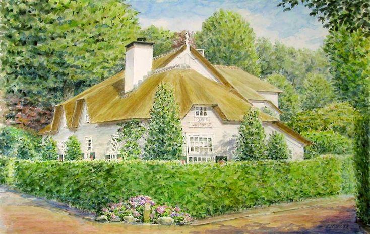 watercolour painting house portrait, Eduard Moes