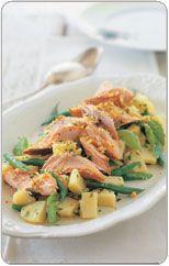 Smoked fish salad with potatoes and lemon breadcrumbs