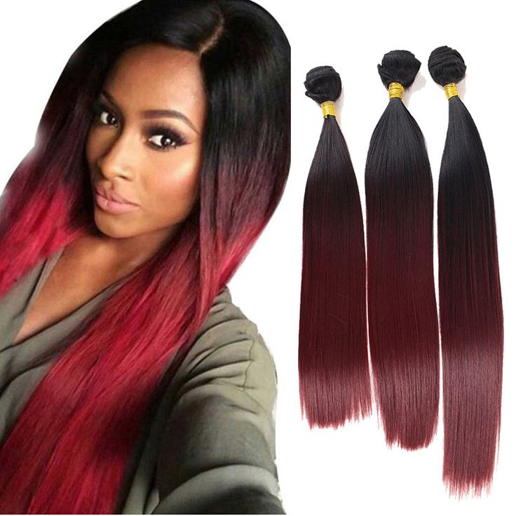 """3Pcs/Lot 16"""" 18"""" 20"""" Black T Red Weaving Hair Extension Straight Synthetic Heat Resistant Fiber Ombre Hair Peluca Peruca"""