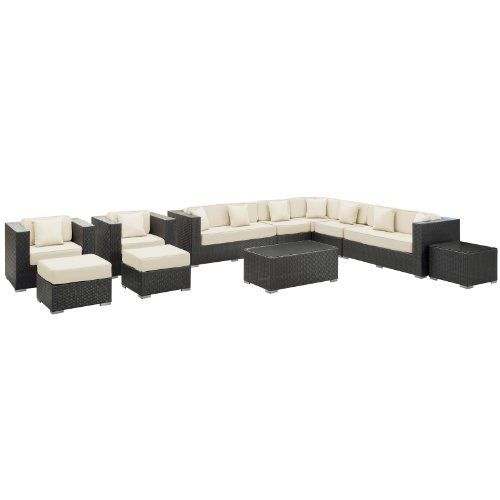 East End Imports Cohesion Outdoor Rattan 11 Piece Set in Espresso with White Cushions by East End Imports. $6383.64. • All Weather Synthetic Rattan Weave • Powder Coated Aluminum Frame • Water & UV Resistant • Machine Washable Cushion Covers • Easy To Clean Tempered Glass Top • Ships Pre-Assembled • Item Ships in 2 - 3 Weeks. Preside steadfastly at each assembly as concurrent movements take you forward. The Cohesion Outdoor Sectional Set brings you to...