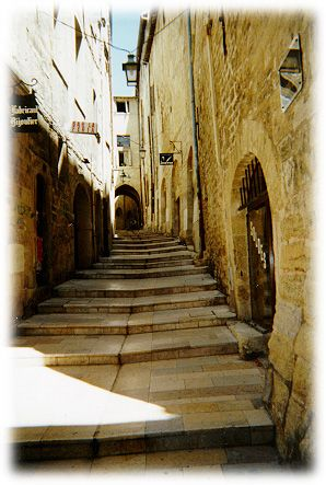 a medieval street in Montpellier