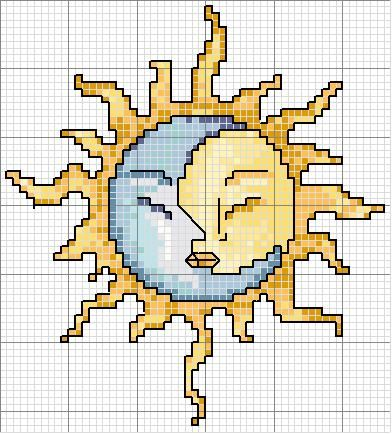 Schema punto croce Sole Luna (couldn't find a color key)