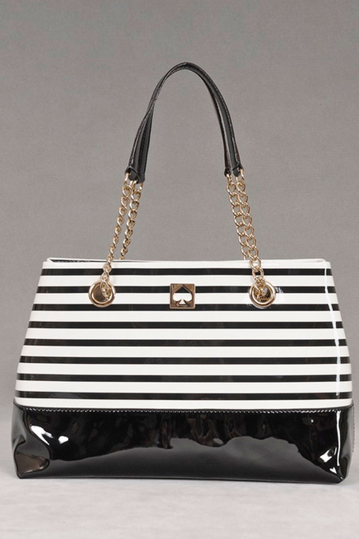 Kate Spade Black & Ice Stripe Handbag.