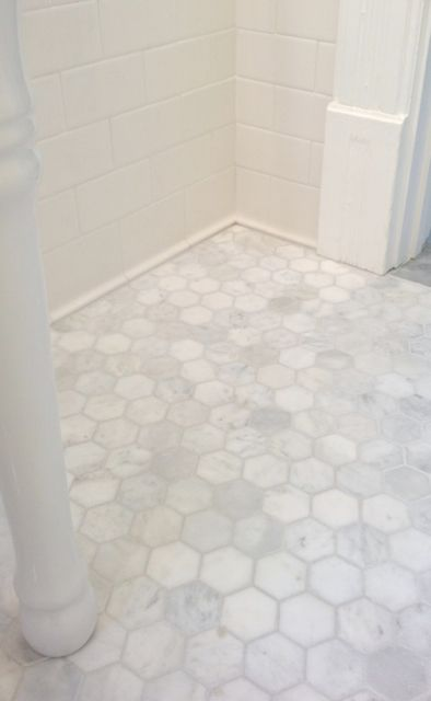 "2"" Polished Carrara Hexagon... My favorite tile in the entire world. This is the feeling I was trying to re-create in our 2nd bath remodel."
