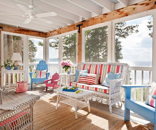 A patriotic-inspired color palette makes this porch the perfect summertime entertainment station. Gentle reds and pastel pinks mingle with soft blues and crisp white to create a space that's truly all-American. Heavy-duty indoor-outdoor fabrics ensure the furniture can stand up to everyday wear and tear.