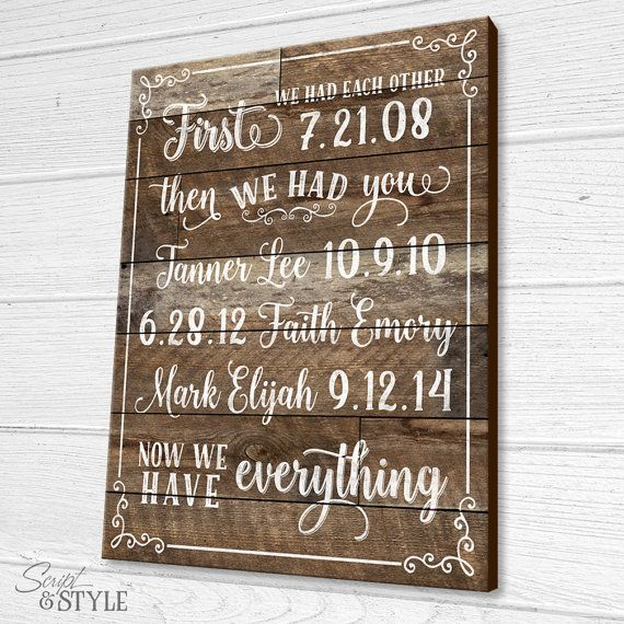 Personalized Important Dates Wood Sign First We by ScriptandStyle